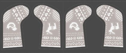 Lewis & Irene When I Met Santa's Reindeer - 4784 -  Charcoal and Taupe Stocking Panel - C10.2 - Cotton Fabric